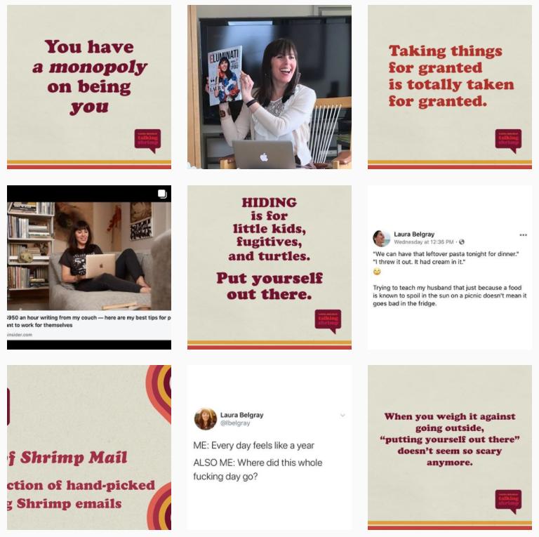 Screenshot of talking shrimp - selling online services
