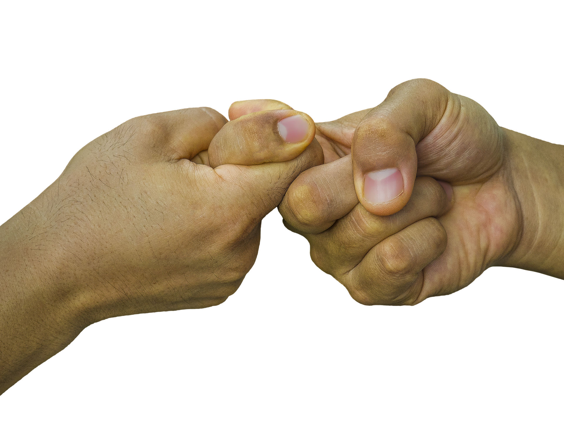 Two hands clasping index fingers